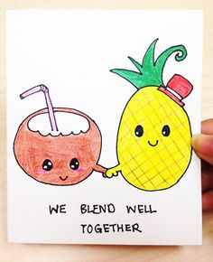 We blend well together funny and cute card for boyfriend, girlfriend, best friend, wife_For Christmas, anniversary, all occasion_Hand drawn