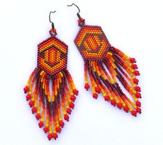 Seed bead dangle long earrings  Native American by Anabel27shop