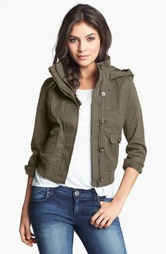Thread & Supply Hooded Twill Bomber Jacket (Juniors) (Online Only) available at #Nordstrom