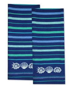 Look at this Anchor Blue Shells Embroidered Dish Towel - Set of Two on #zulily today!