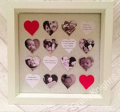 Heart Photo Box Family Photo Frame by CraftyKnightCrafts on Etsy Unique Photo Frames, Family Photo Frames, Family Photos, Handmade Crafts, Diy Crafts, Memory Frame, Personalized Photo Frames, Photo Heart, Photo Displays