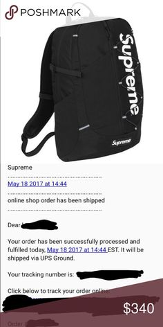 94f331932665 SUPREME logo Backpack Black SS17 nwt Sold Out Supreme Backpack supreme logo  Black SS17 new Sold