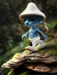 Smurfs Are Creepy Realistic Smurf. waaaay cooler than the cartoon kind. waaaay cooler than the cartoon kind. 3d Fantasy, Fantasy Kunst, Fantasy World, Magical Creatures, 3d Character, Faeries, Smurfs, Creepy, Concept Art