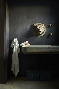 Dark and Moody bathroom shot.  Lion sink, orange soap and linens.