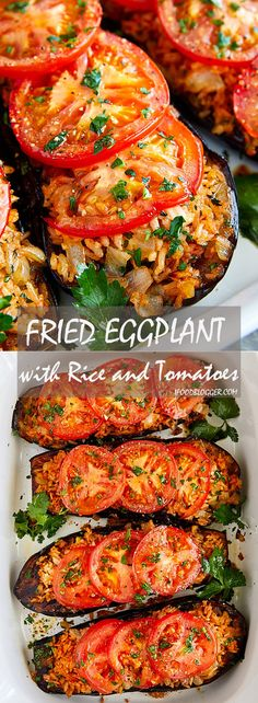 Fried Eggplant with Rice and Tomatoes - Vegan, low-carb, healthy and very delicious. | ifoodblogger.com
