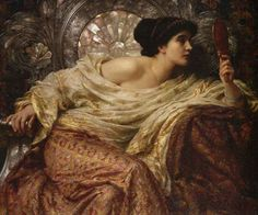Pre Raphaelite Art: Frank Dicksee - The Mirror - Art Curator & Art Adviser. I am targeting the most exceptional art! Catalog @ http://www.BusaccaGallery.com