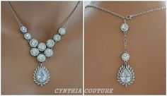 Backdrop NecklaceGatsby NecklaceSwarovski Pearl by cynthiacouture