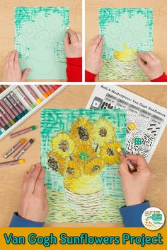 VAN GOGH SUNFLOWERS ART GAME Learn art history while creating a Van Gogh sunflowers drawing. Fill up your art sub plan folder with no-prep, Post-Impressionism art projects for kids that are easy to implement. Easy Art Lessons, Art History Lessons, Art Lessons Elementary, Art Van, Van Gogh Art, Sunflower Drawing, Sunflower Art, Van Gogh For Kids, Art For Kids