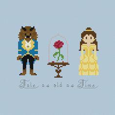 Disney Beauty & the Beast Rose Cross Stitch di pixelsinstitches