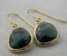 Indian Green Sapphire Earrings Framed in Gold Bridal Jewelry. $19.50, via Etsy.