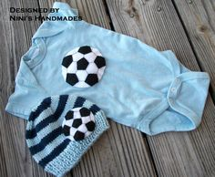 SOCCER  2 Piece ,  hat with ball,  onesie with ball, bodysuit, striped baby hat, childrens clothing, baby shower gif on Etsy, $483.87