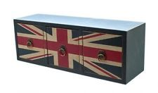 Stylish 3-draw worn-look Union Jack drawers made of MDF with ring handles. New £13.99