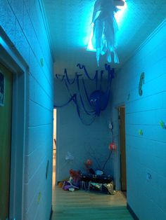 Our ocean hallway complete with octopus, coral & sunken treasure for weird animals set VBS 2014! For questions email me homeschoolmomgray@gmail.com