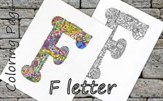 Letter F Download Coloring Page Hand Drawn Zentangle Inspired The Alphabet Adult Coloring Page Art Relaxing Activity For Family