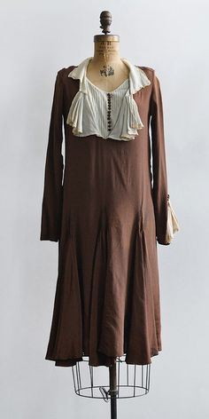 vintage 1920s brown silk ruffles flapper dress
