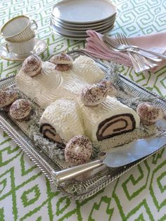 "Buche de Noel - served traditionally in French homes after midnight mass at an all-night dinner called ""le reveillon"" ."