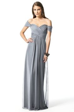 Loving this romantic off the shoulder bridesmaid's dress by Dessy 2844 | Weddington Way