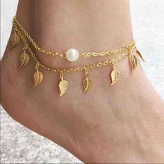 "Leaf Anklet Cute gold toned zinc alloy ankle bracelet with faux pearl. Length is 8.27"". New in package. Jewelry"
