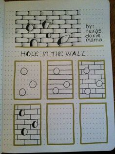 Step-By-Step Zentangle Pattern Hole in the Wall Doodles Zentangles, Tangle Doodle, Zentangle Drawings, Zen Doodle, Doodle Drawings, Doodle Art, Zantangle Art, Zen Art, Doodle Patterns