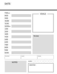 Daily Planner Printable Template Sheets - Paper Trail Design throughout Printable Blank Daily Schedule Template - Professional Plan Templates Monthly Planner Template, Daily Schedule Template, Meal Planner Printable, Free Printable, Printable Templates, To Do Planner, Daily Planner Pages, Daily Organizer Planner, Happy Planner