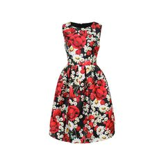 Women Sleevelss O Neck High Waist Floral Printed Ball Gown Dress (€23) ❤ liked on Polyvore featuring dresses, floral, sleeved dresses, collar dress, floral dresses, red summer dress and flower print dress