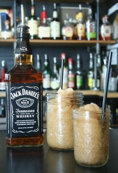 Jack and Coke Slushies...in mason jars!! Now I just LOVE everything about this! - Click image to find more drinks Pinterest pins
