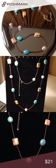 "Lia Sophia Turquoise Necklace Genuine Turquoise & faux pearls, 34""-36"" Lia Sophia Jewelry Necklaces"