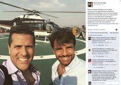 Toluca, Méx., a 12 de octubre de 2015.- El conductor de Televisa Marco Antonio Regil publicó en las redes sociales una imagen donde se le ve junto con el comediante Eugenio Derbez y al fondo un helicóptero del Estado de México, que los trasladó a un evento.