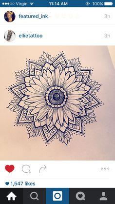 Love this daisy/sunflower mandala! - Love this daisy/sunflower mandala! Sunflower Tattoo Shoulder, Sunflower Tattoo Small, Sunflower Tattoos, Shoulder Tattoo, Sunflower Mandala Tattoo, Mandala Tattoo Shoulder, Sunflower Tattoo Meaning, Sunflower Flower, Mandalas Tattoos