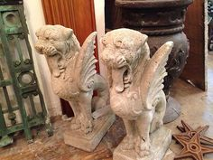 Garden Gargoyles Vintage with Griffin Wings Coat of Arms | eBay