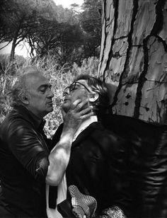 Federico Fellini & Marcello Mastroianni on the set of 8½