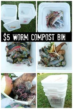 They don't stink (promise). And they wiggle. Why wouldn't you start a worm compost bin? Vermicomposting is easy!It's easy. They don't stink (promise). And they wiggle. Why wouldn't you start a worm compost bin? Vermicomposting is easy! Farm Gardens, Outdoor Gardens, Homestead Gardens, Organic Gardening, Gardening Tips, Garden Compost, Diy Compost Bin, Red Worm Composting, Homemade Compost Bin