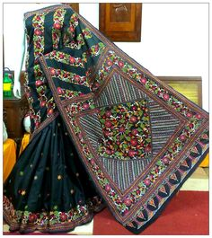 Kantha hand stitched embroidery saree
