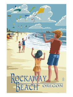Rockaway Beach, Oregon - Kite Flyers Premium Poster