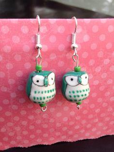 Green owl earrings. Adult. clip on. Owl jewelry. Kids post. Girls earrings. Owl Dangle. Nickel free. Children's jewelry.  St Patrick's day