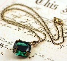 Emerald jewel necklace brass mayfair vintage style by mylavaliere