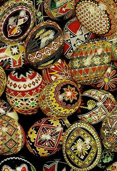 My father's mother did beautiful pysanky - much like these, with very geometric patterns. Not so much the animals and birds. Pysanky,Hand painted Ukranian Easter eggs (National Geographic   April 1972)