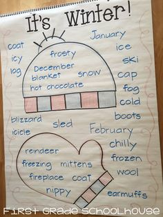 Winter words anchor chart. Brainstorm words associated with winter.