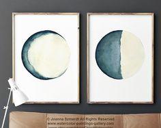 Moon Phases aquarelle tableau abstrait bleu salon Decor lune Illustration set 2 Art Print vanille Turquoise décoration murale d'une chambre