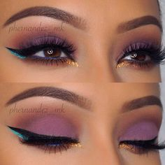 Purple Matte Eyes with a Pop of Color