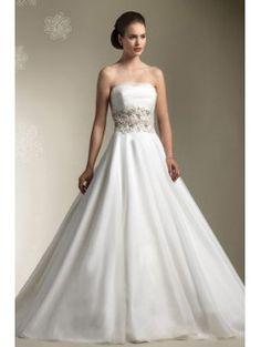 Chiffon Strapless Chapel Train A-line Wedding Dress with Pearls
