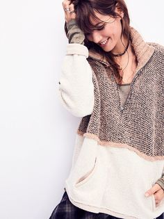 Pop That Collar Pullover from Free People! (love that rolled sleeve with long sleeve underneath.)