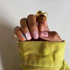 Funky Nails, Dope Nails, Swag Nails, Short Gel Nails, Short Nails Art, Neutral Nails, Bright Nails, Hippie Nails, Acryl Nails