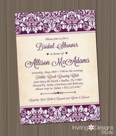 Elegant Bridal Shower Invitation, Wedding Shower Invitation, Damask, Purple, Customize Your Colors (PRINTABLE FILE)