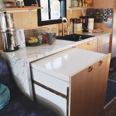 Solar refrigerator for Skoolie, bus or van. Efficient appliances are a must Outdoor Kitchen Design, Kitchen Decor, Kitchen Ideas, Chest Freezer, Bus House, Basic Kitchen, Energy Efficient Homes, Busa, Cabinet Styles
