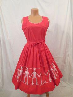 VINTAGE Swirl WRAP DRESS M/L border novelty print FRENCH SAILOR full skirt VLV #Swirl #TeaDress #Casual