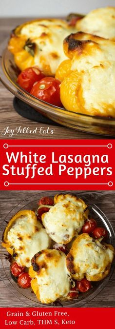 White Lasagna Stuffed Peppers - Low Carb, Grain Gluten Free, THM S, Keto - These White Lasagna Stuffed Peppers take an easy dinner staple to a whole new level. With only 5 ingredients and a very simple preparation, they are a great dinner for a busy night.