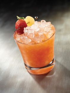 The Strawberry Capitol -- 2 oz. Appleton Estate Reserve, Strawberries, ½ oz. lemon juice, ¾ oz. ginger agave syrup (1 part ginger/1 part sugar), Crushed ice, garnish with strawberry and ginger candy.
