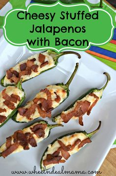 Cheesy Stuffed Jalapenos with Bacon --- VERY Easy recipe!