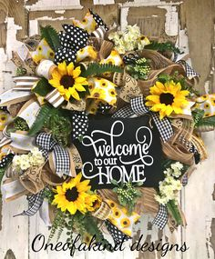 """""""Welcome to our home"""" Summer, everyday, deco mesh wreath"""